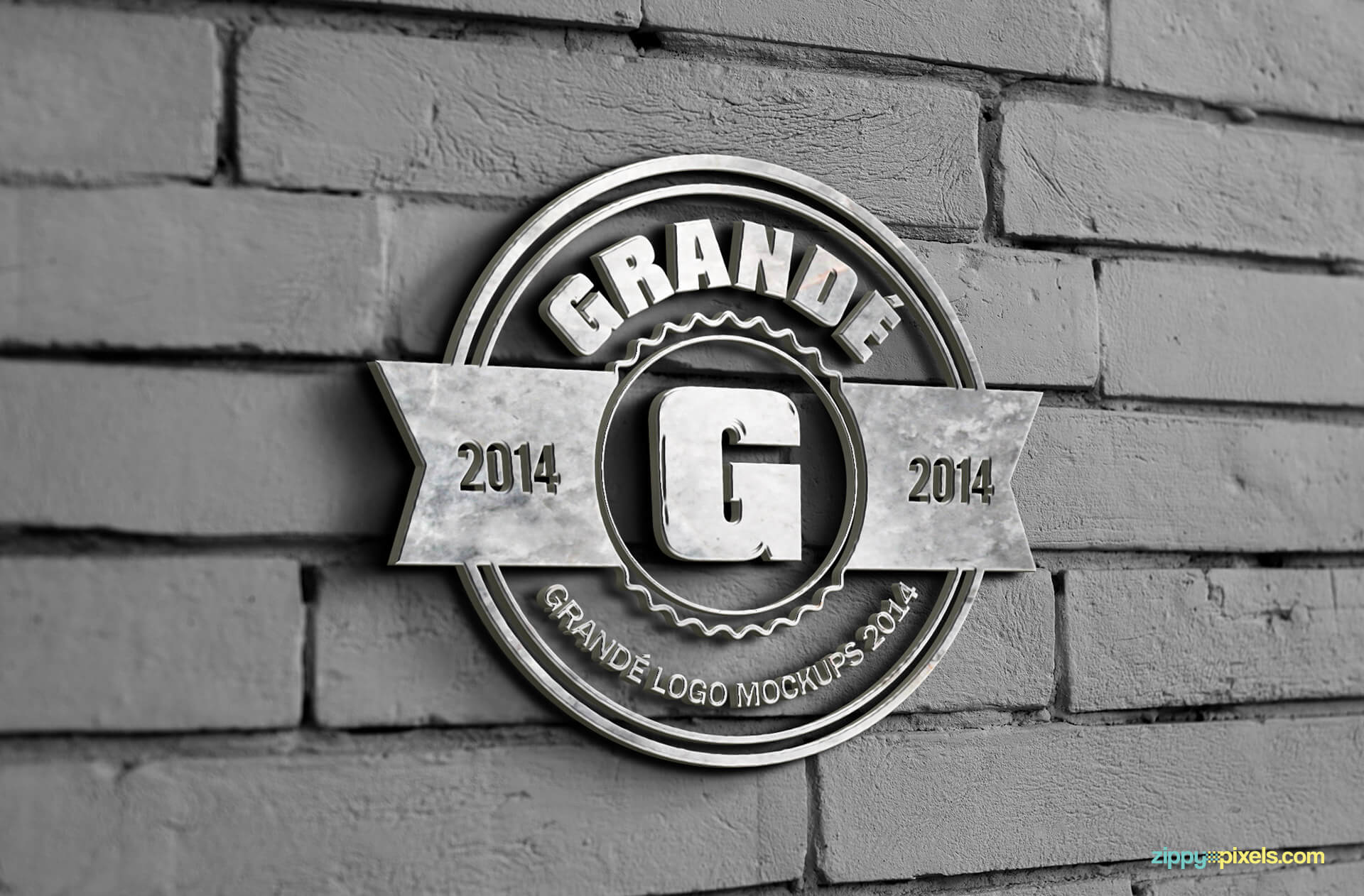 Logo Mockup of Marble Wall Sign on Bricked Wall