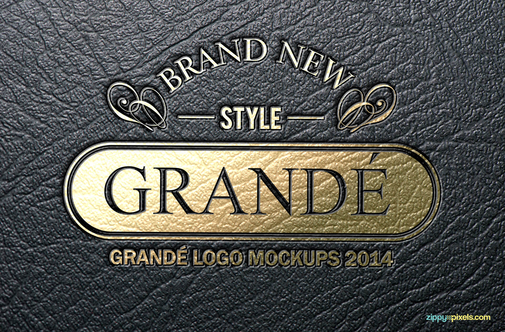 Logo Mockup - Gold Foil Logo on Leather