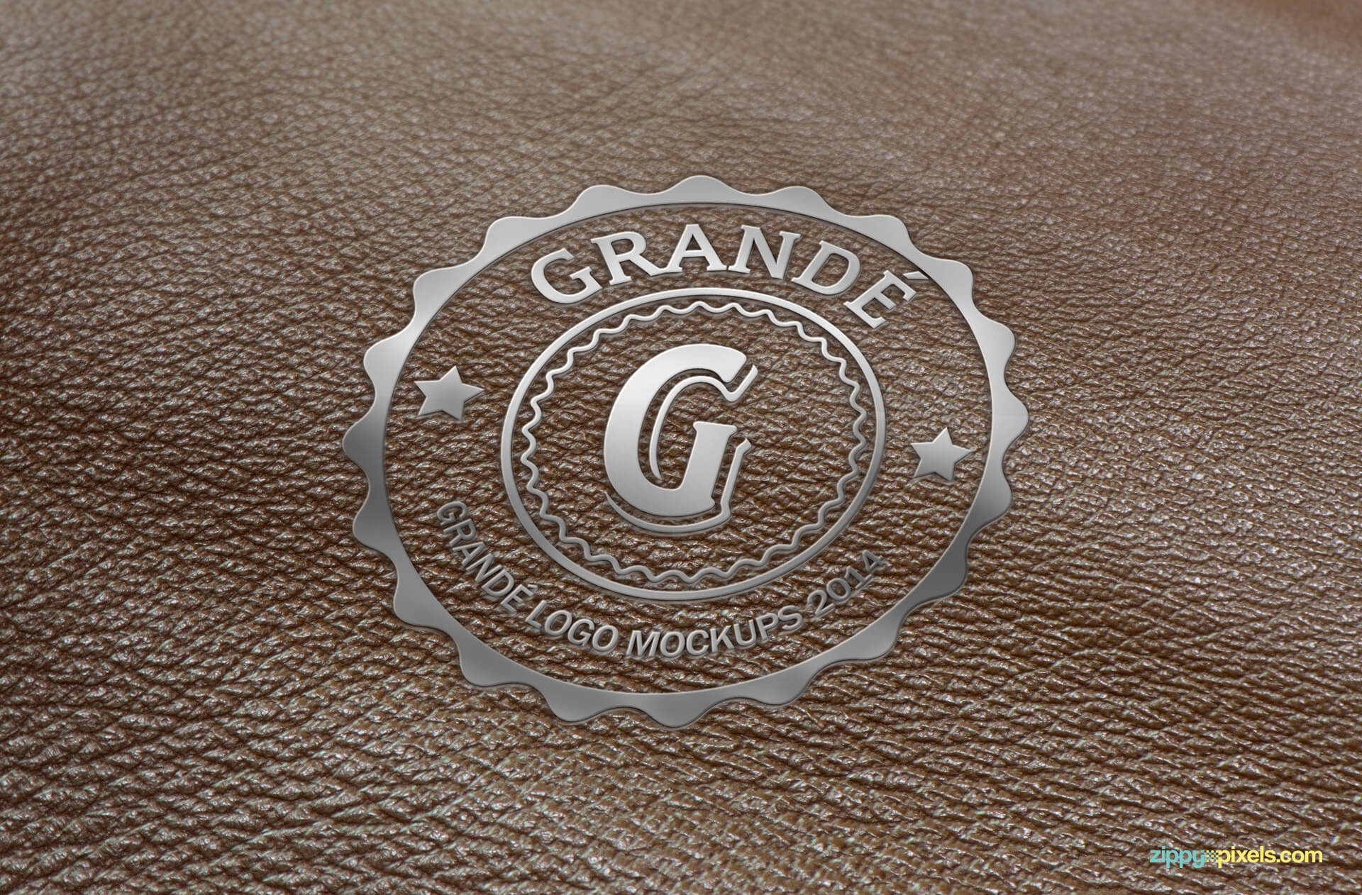 Logo Mockup - Sliver Embossed Logo on Textured Leather