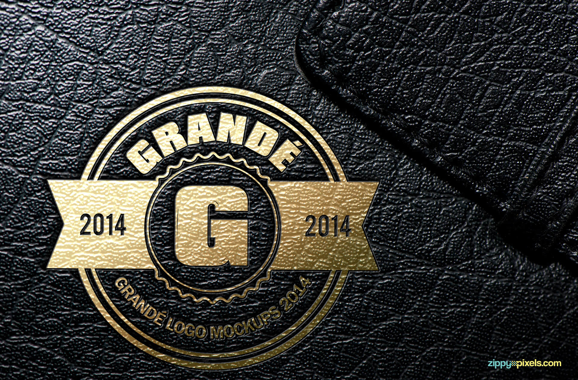 Logo Mockup - Golden UV Spot Stamped Leather