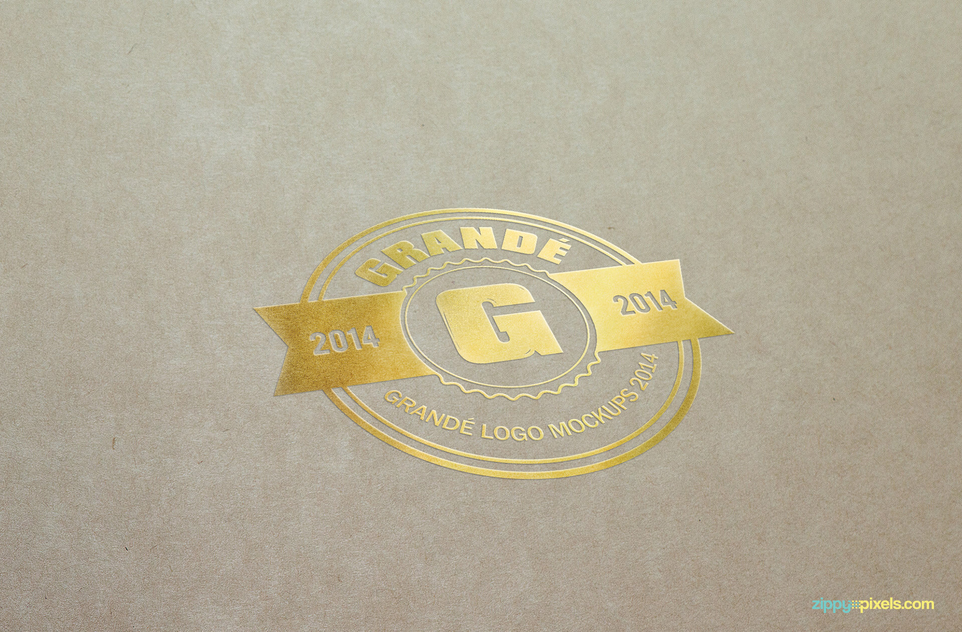 Mockup of Gold Foil Logo Print on Paper