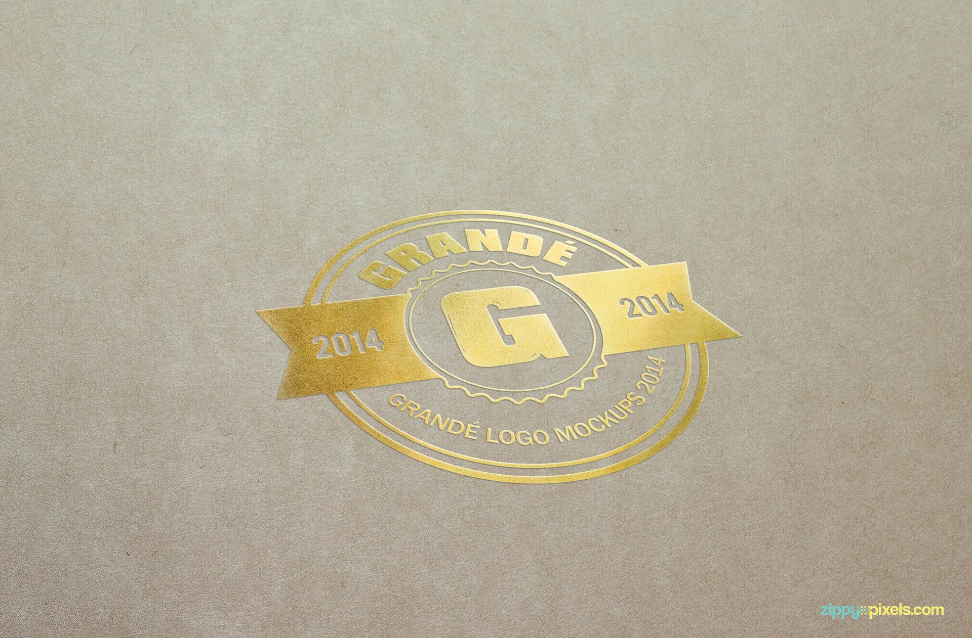 Mockup of Gold Foil Logo Print on Paper