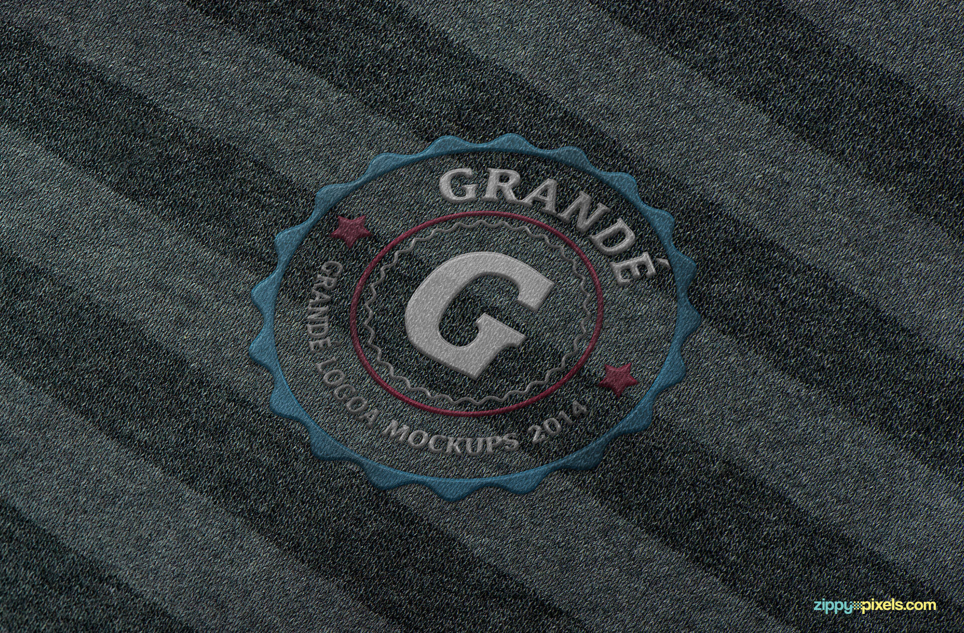 Mockup of Embroidered logo on knitted fabric