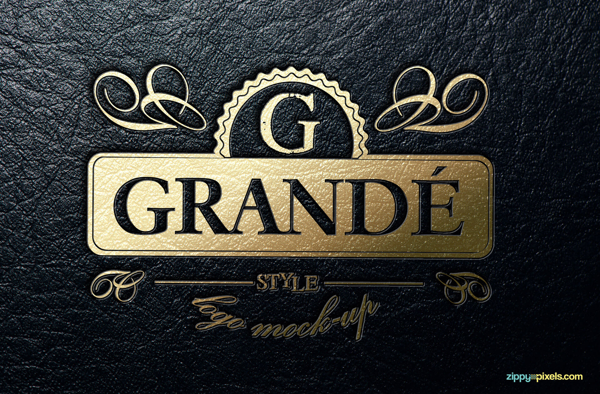 Logo Mockup - Gold foil stamped leather
