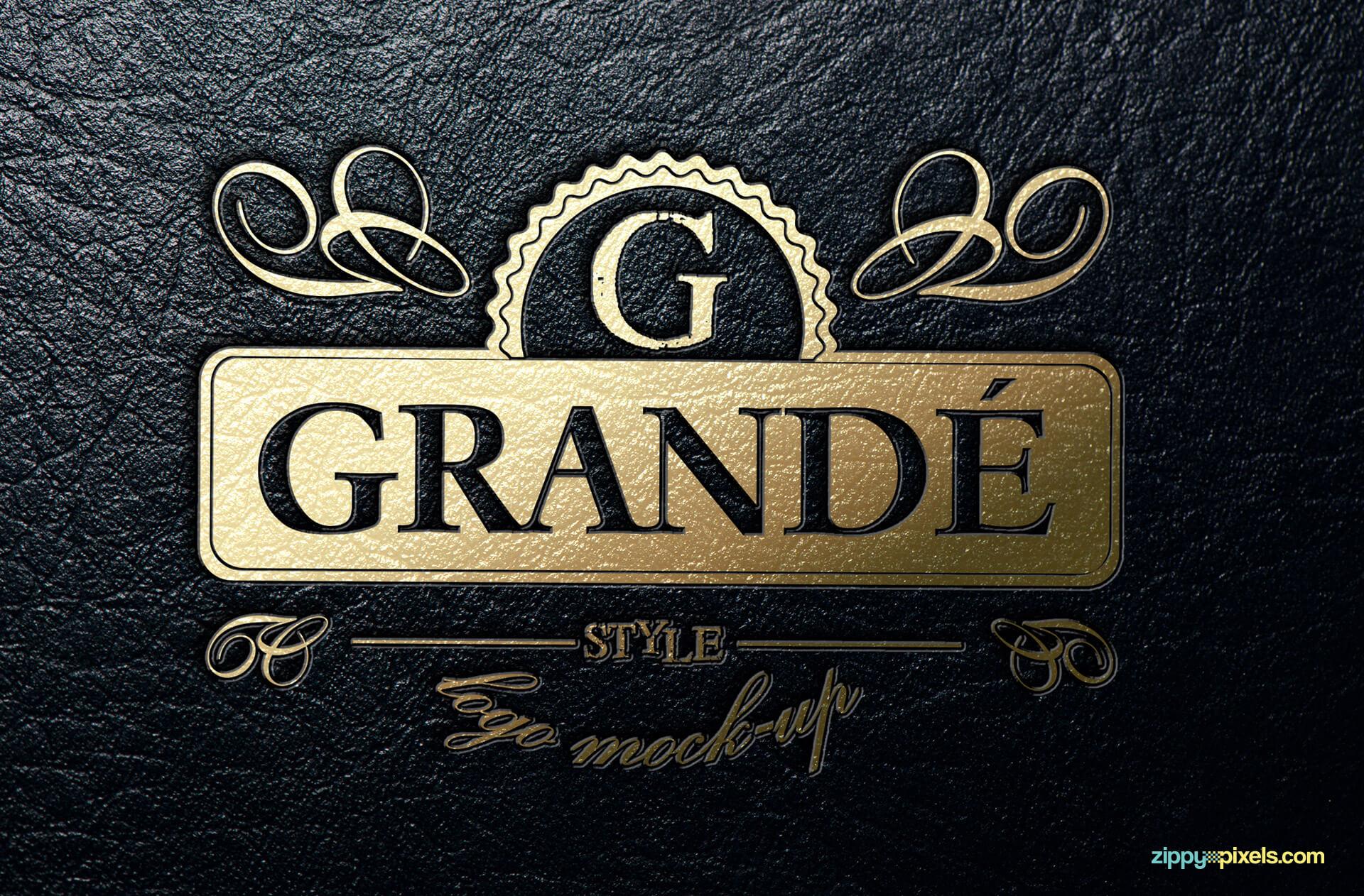 Logo Mockup - Gold foil stamped leather