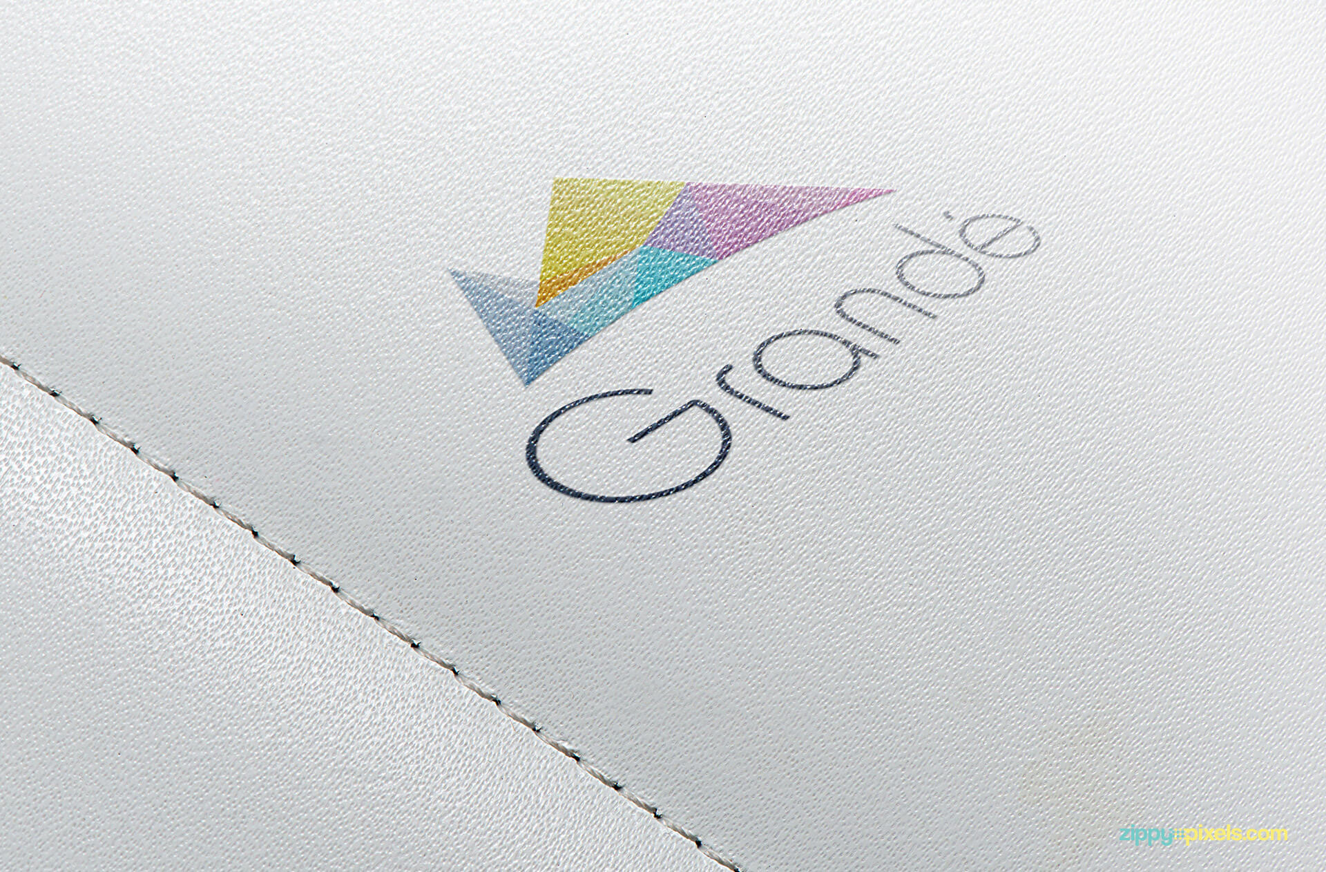 Logo Mockup of printed logo on white leather