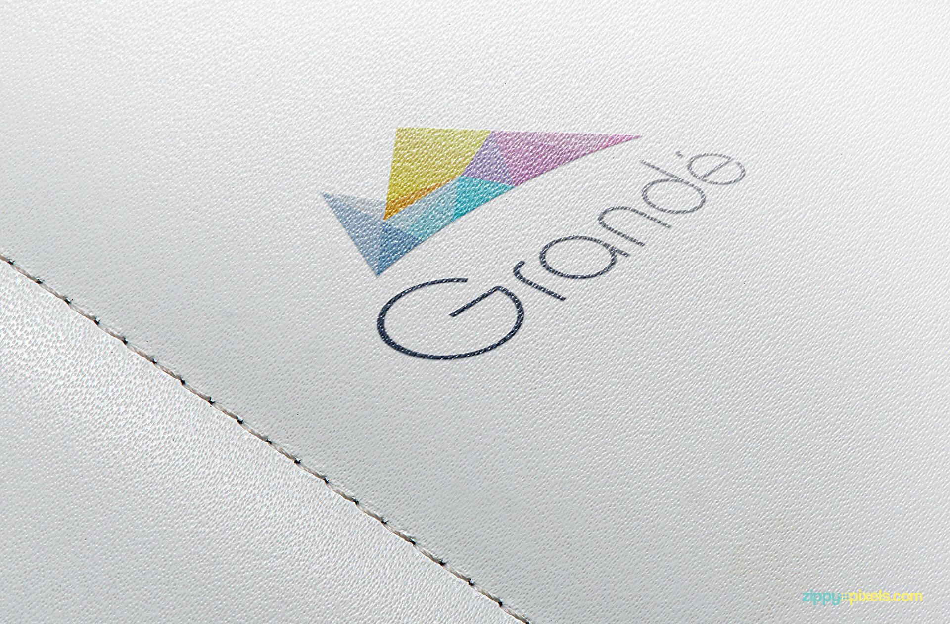 Logo Mockup of printed logo on white leather