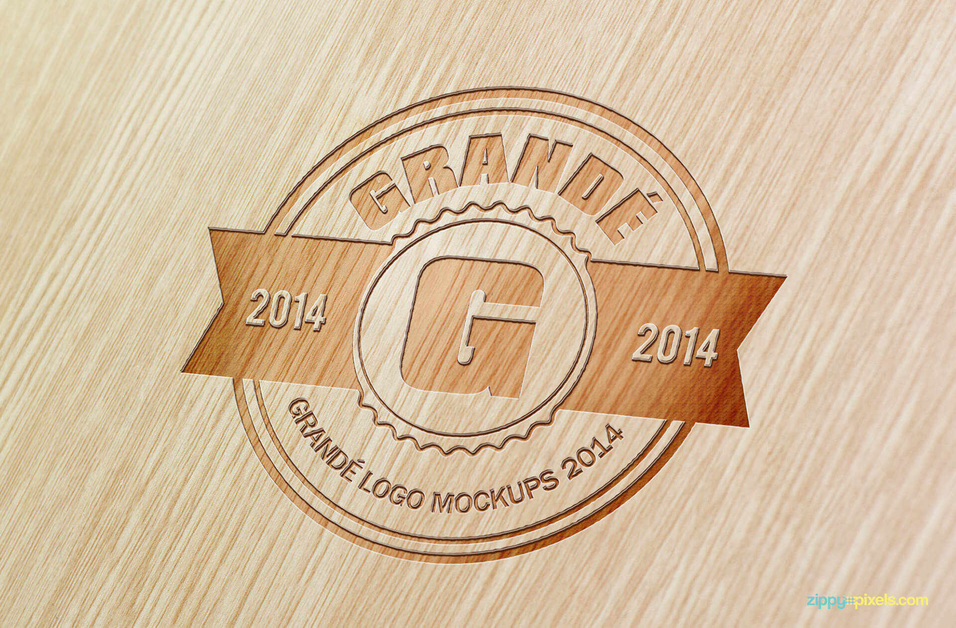 PSD Logo Mockup of an Engraved Logo on Beach Wood