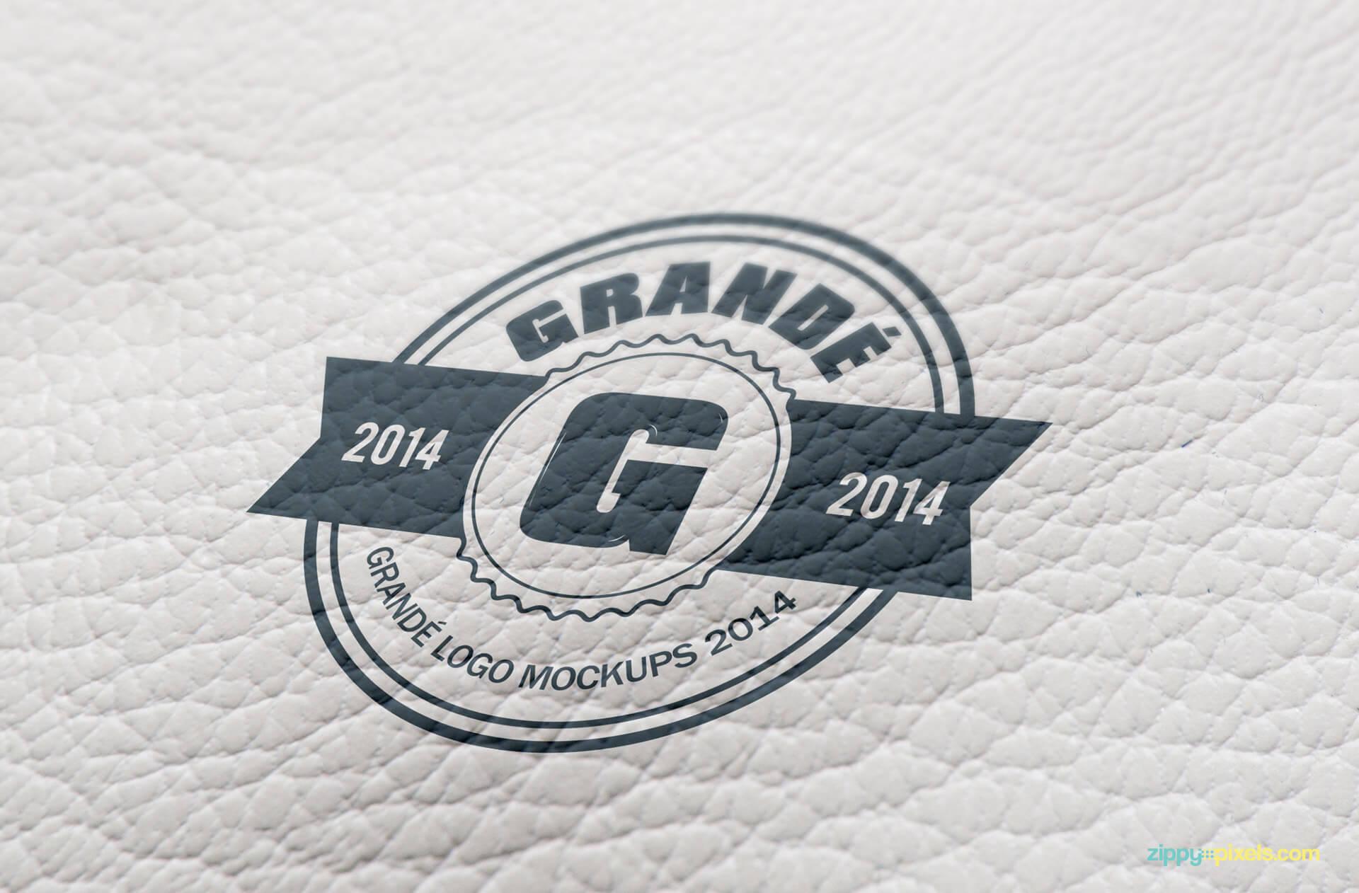 Logo Mockup - Logo Print on Wrinkled Leather