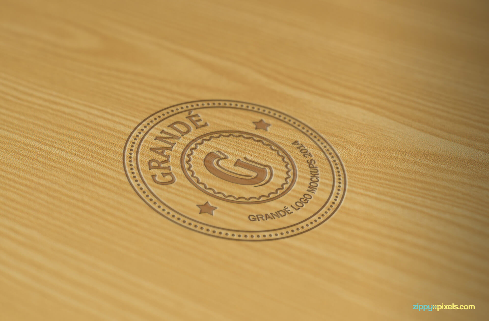 Stamped Logo Mockup on Wood Surface