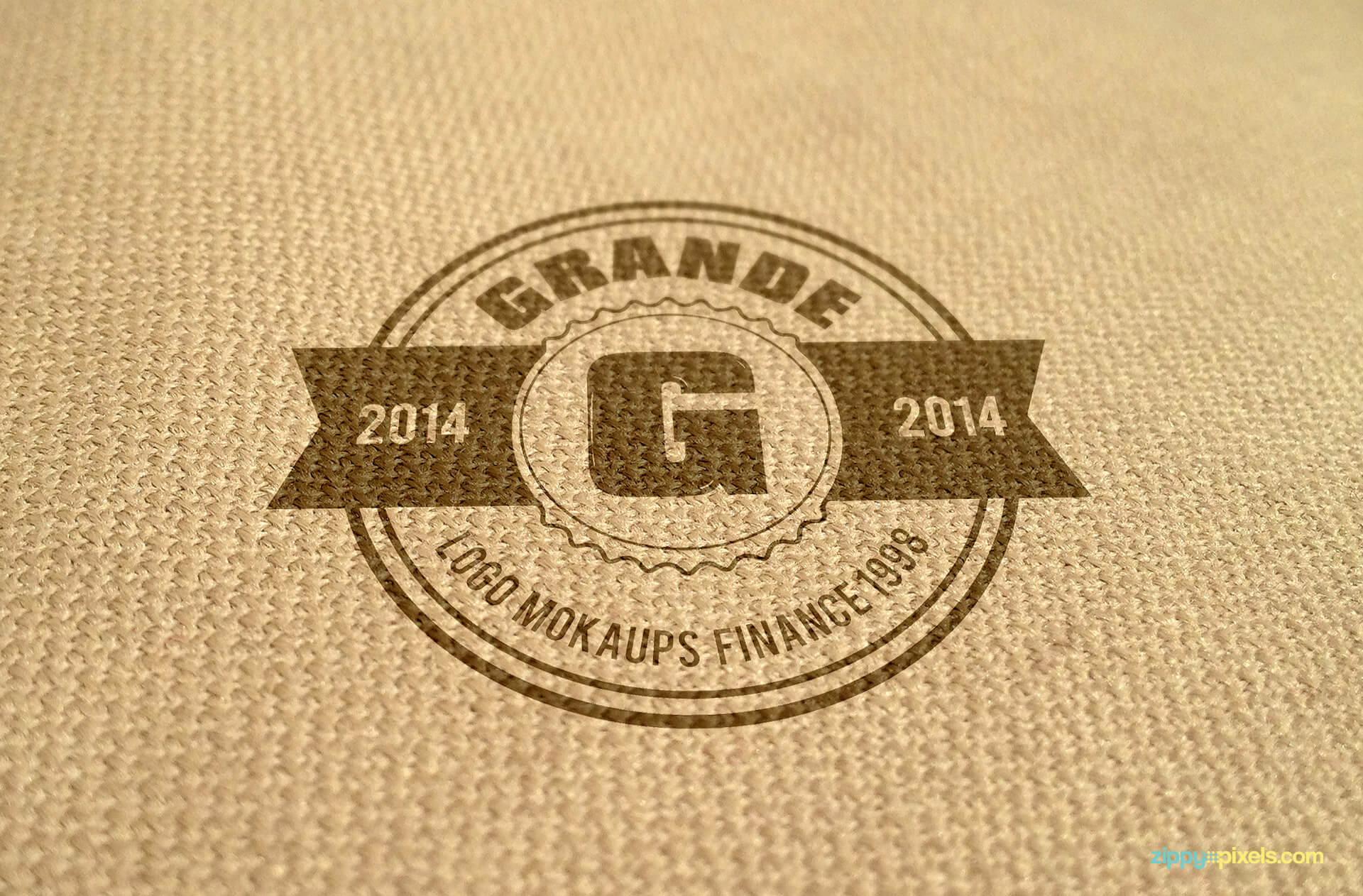 Mockup of logo printed on burlap fabric
