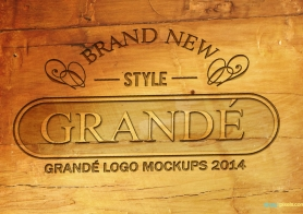 Photorealistic Wood Craft PSD Logo Mockups Volume 1