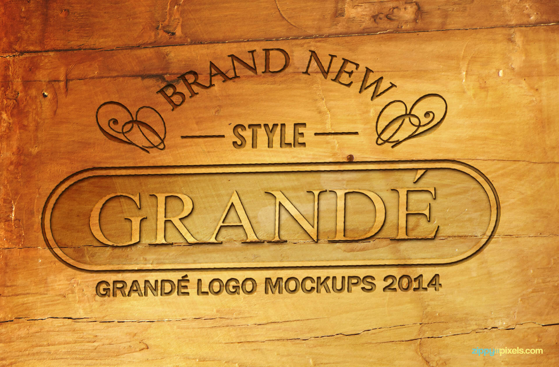 Engraved wood wall logo mockup