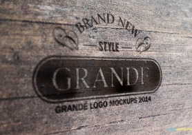 Photorealistic Wood Craft PSD Logo Mockups Volume 2