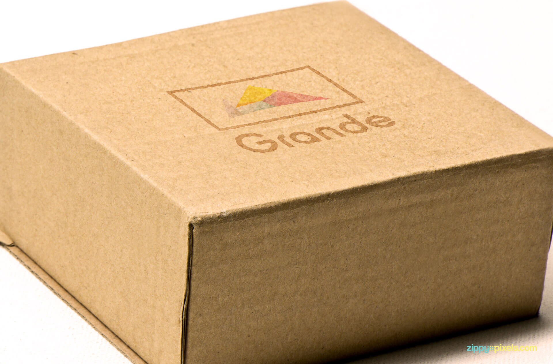 Logo Mockup of Printed Logo on Cardboard Box