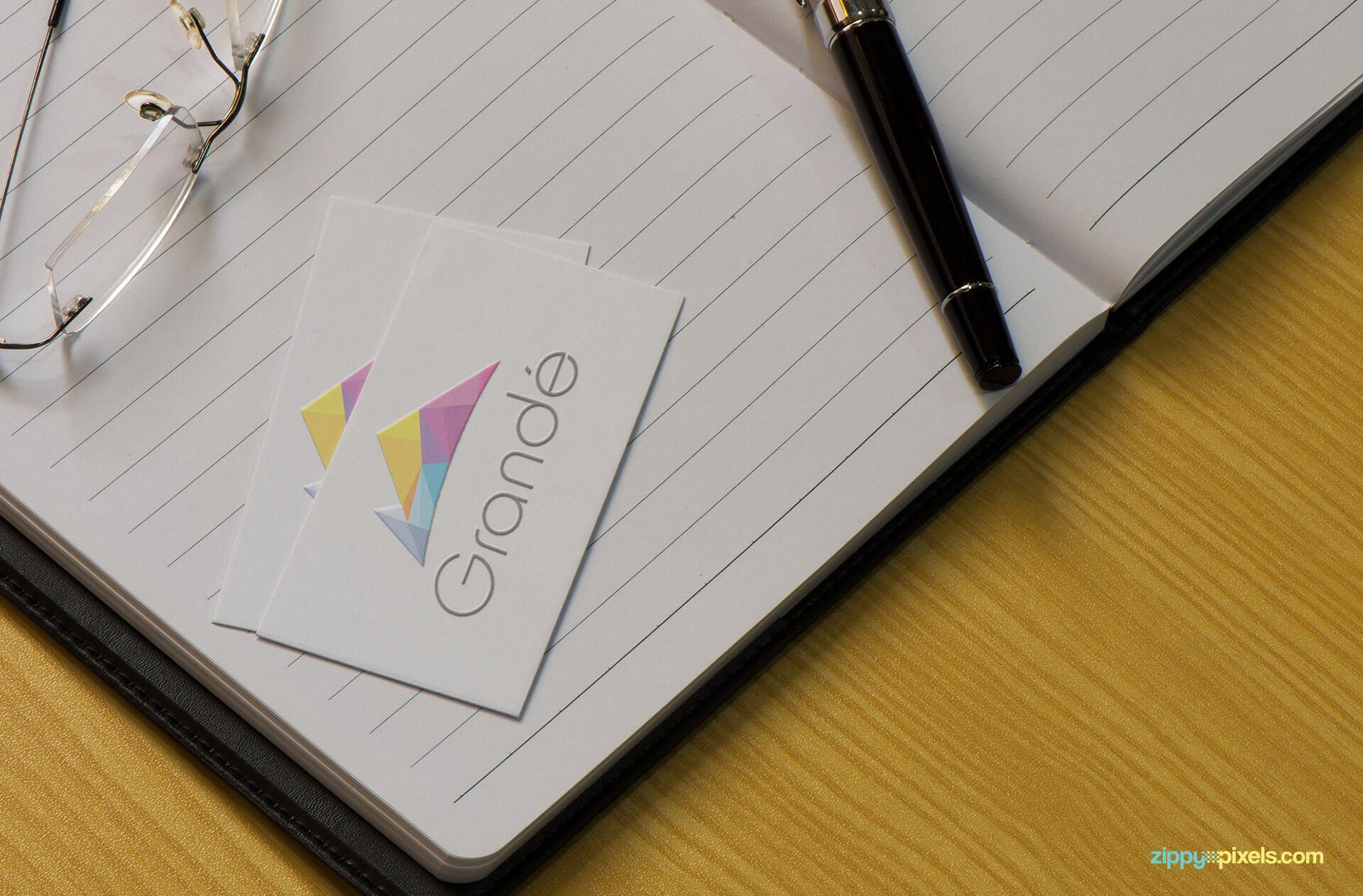 Embossed Logo on Business Card Mockup