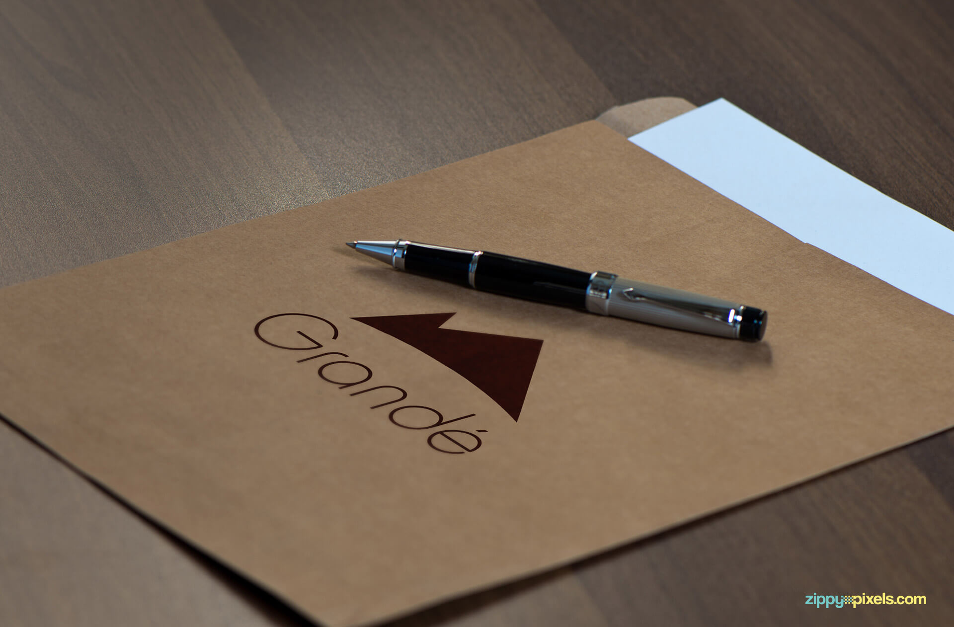 Khaki Large Envelope for Logo Mockup