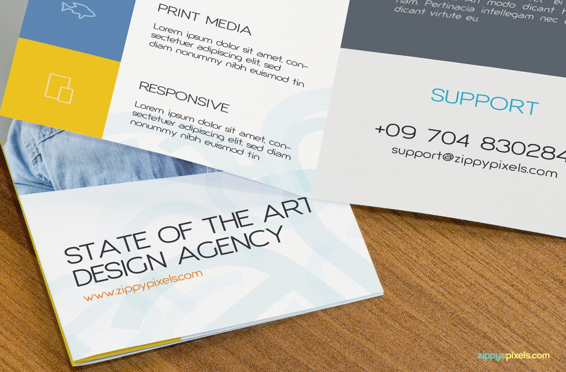 2 Bifold Flyers on Table for Flyer Mockup 3