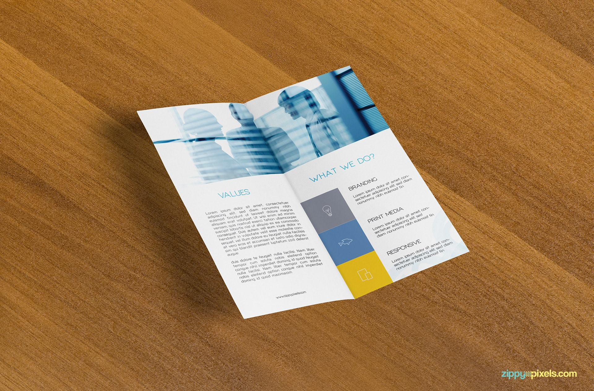 bi-fold-flyer-on-wooden-surface-inner-pages
