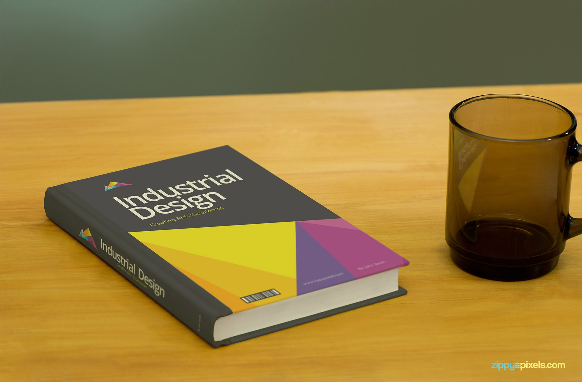 Brand Mockup of Book Placed with a Glass Mug