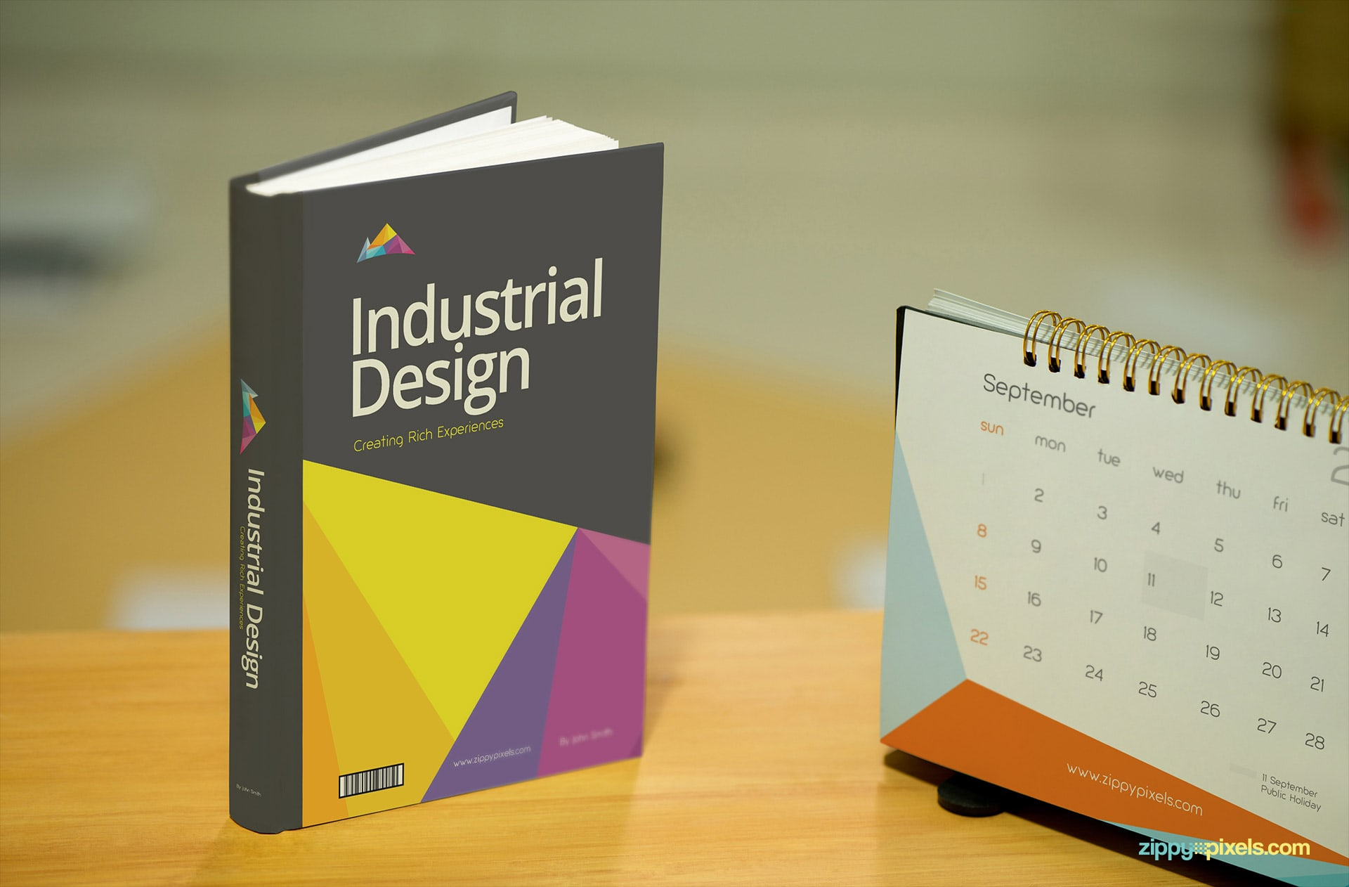 Hardcover Book Mockup on Table with Calendar