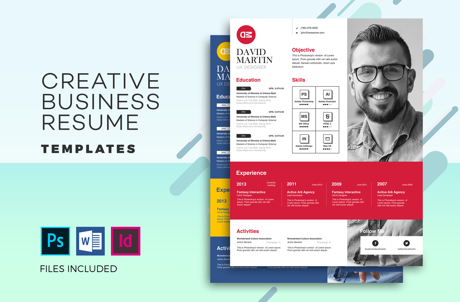 Creative Business Resume Template In MS Word PSD InDesign Formats
