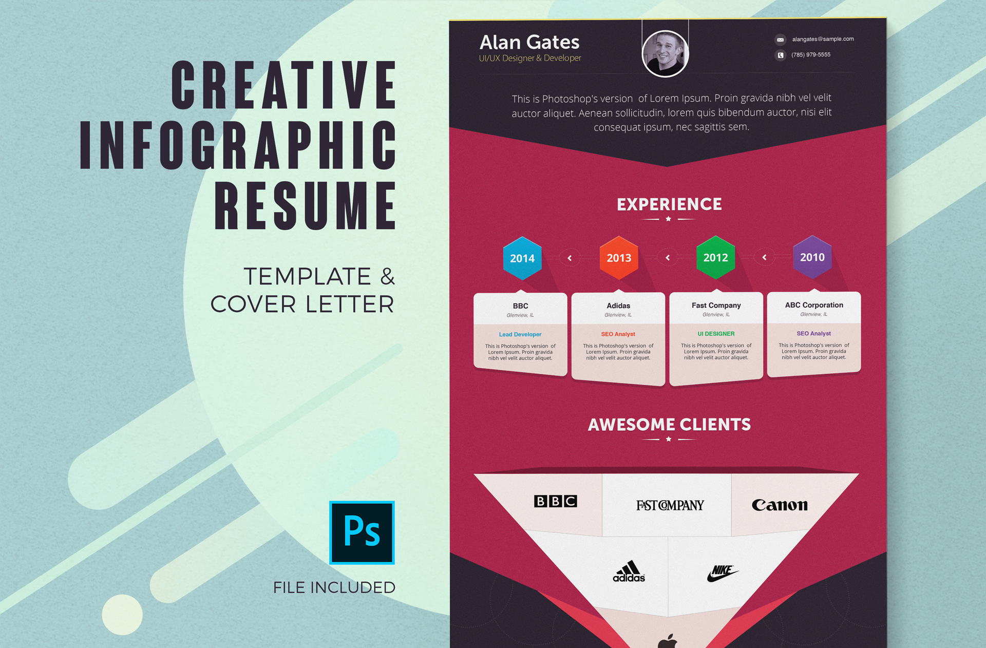 Creative Infographic Resume Template Cover Letter 4 Color Schemes