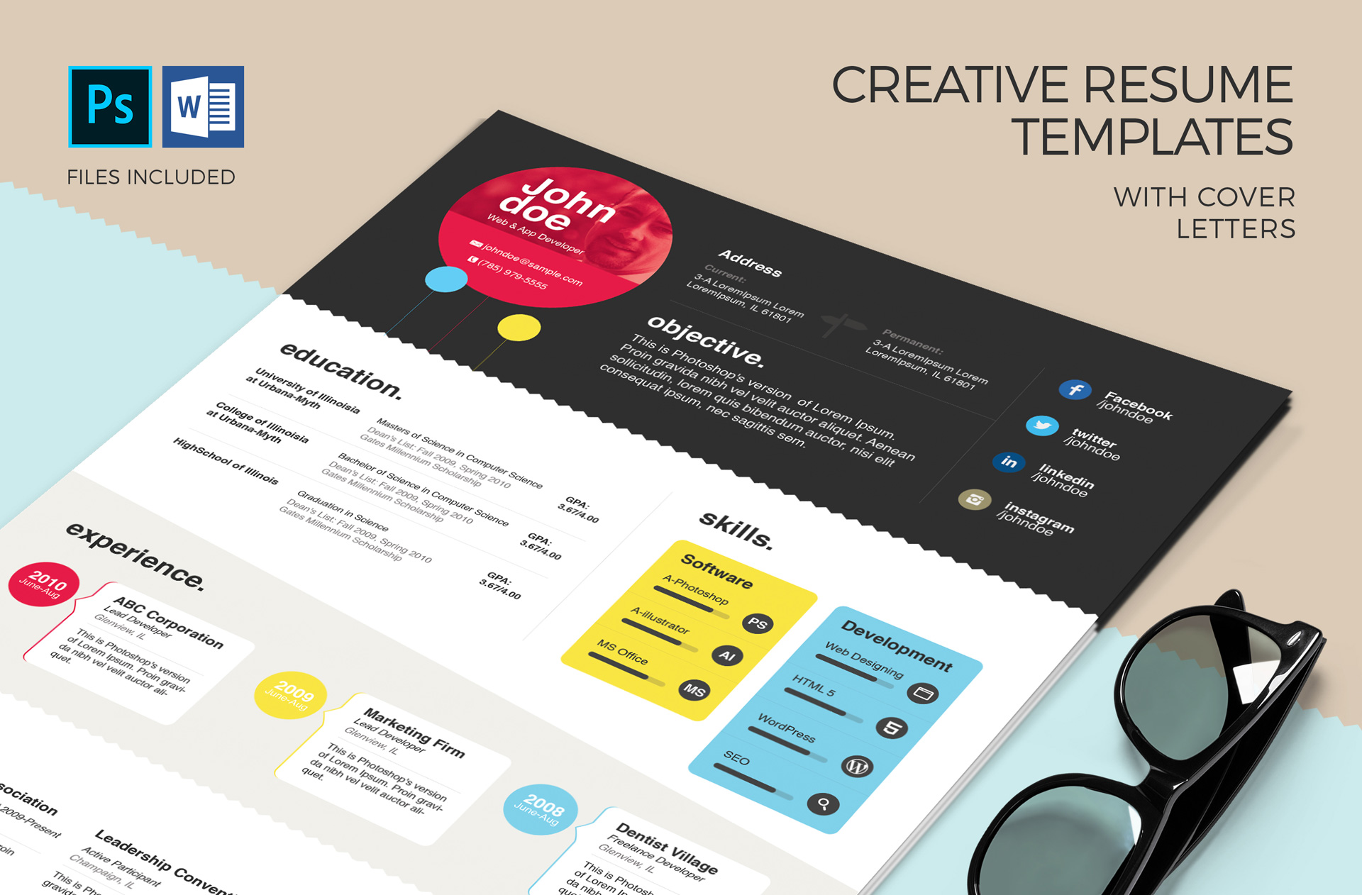 Creative Resume Templates With Cover Letters MS Word PSD