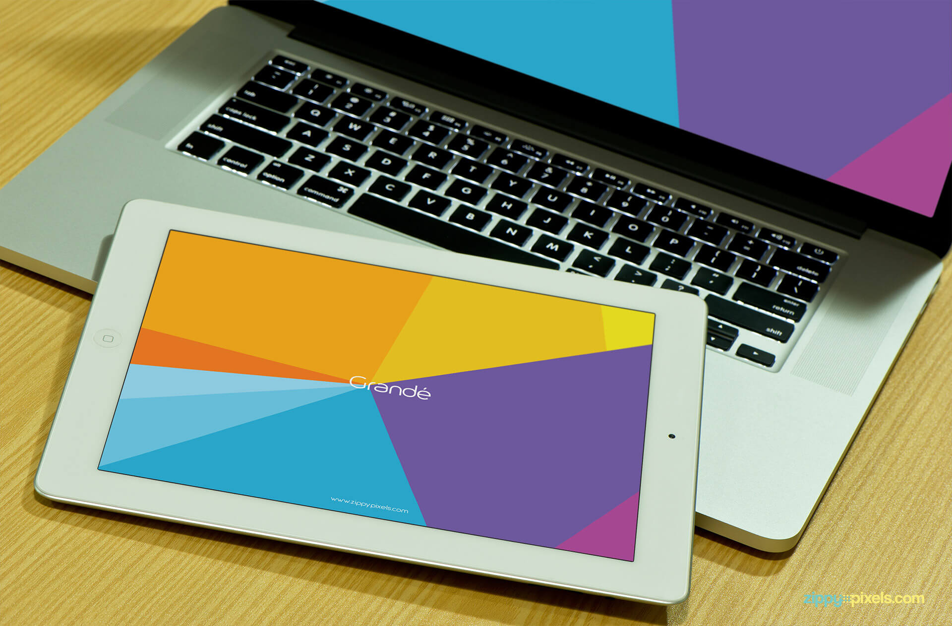 Device Mockup of a iPad on Macboo Pro for Presentation