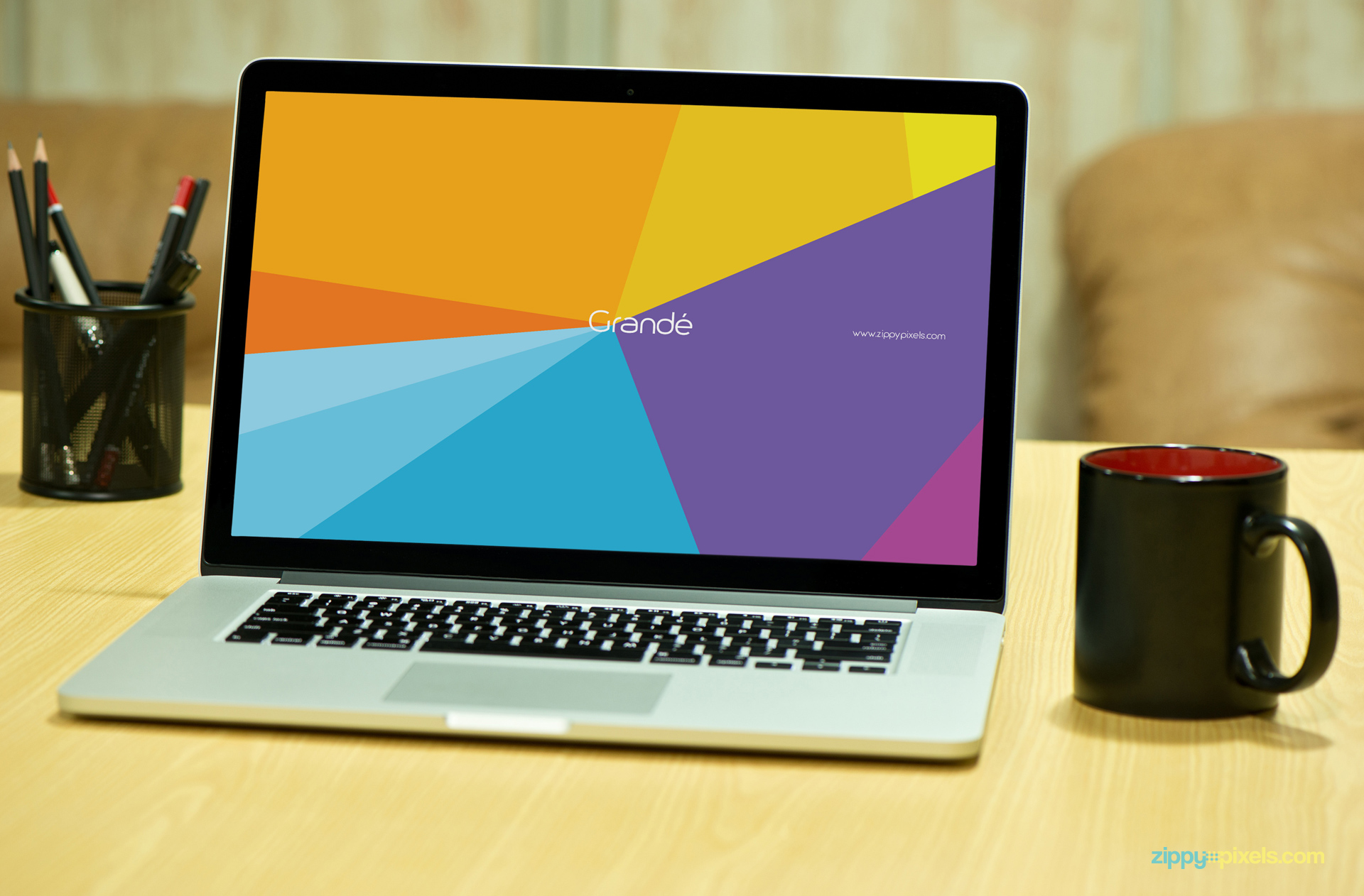 Macbook Pro with Black mug on Table for Mockup