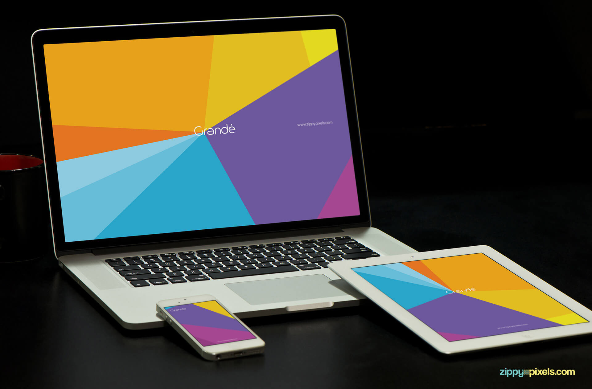 Brand Identity Mockup of iPhone, iPad and Macbook Pro with Dark Background