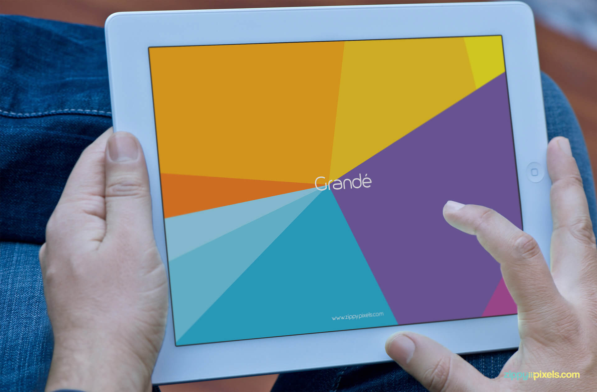Mockup of Close up iPad used by a Hands