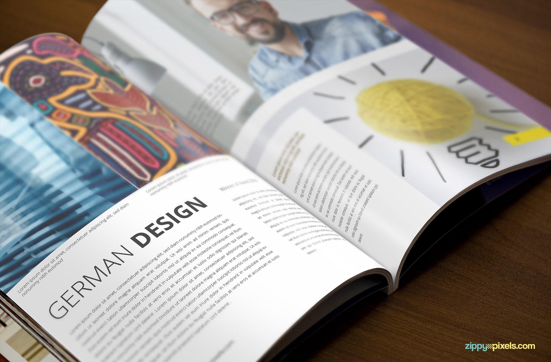 Magazine Mockup showing the Inside of Magazine