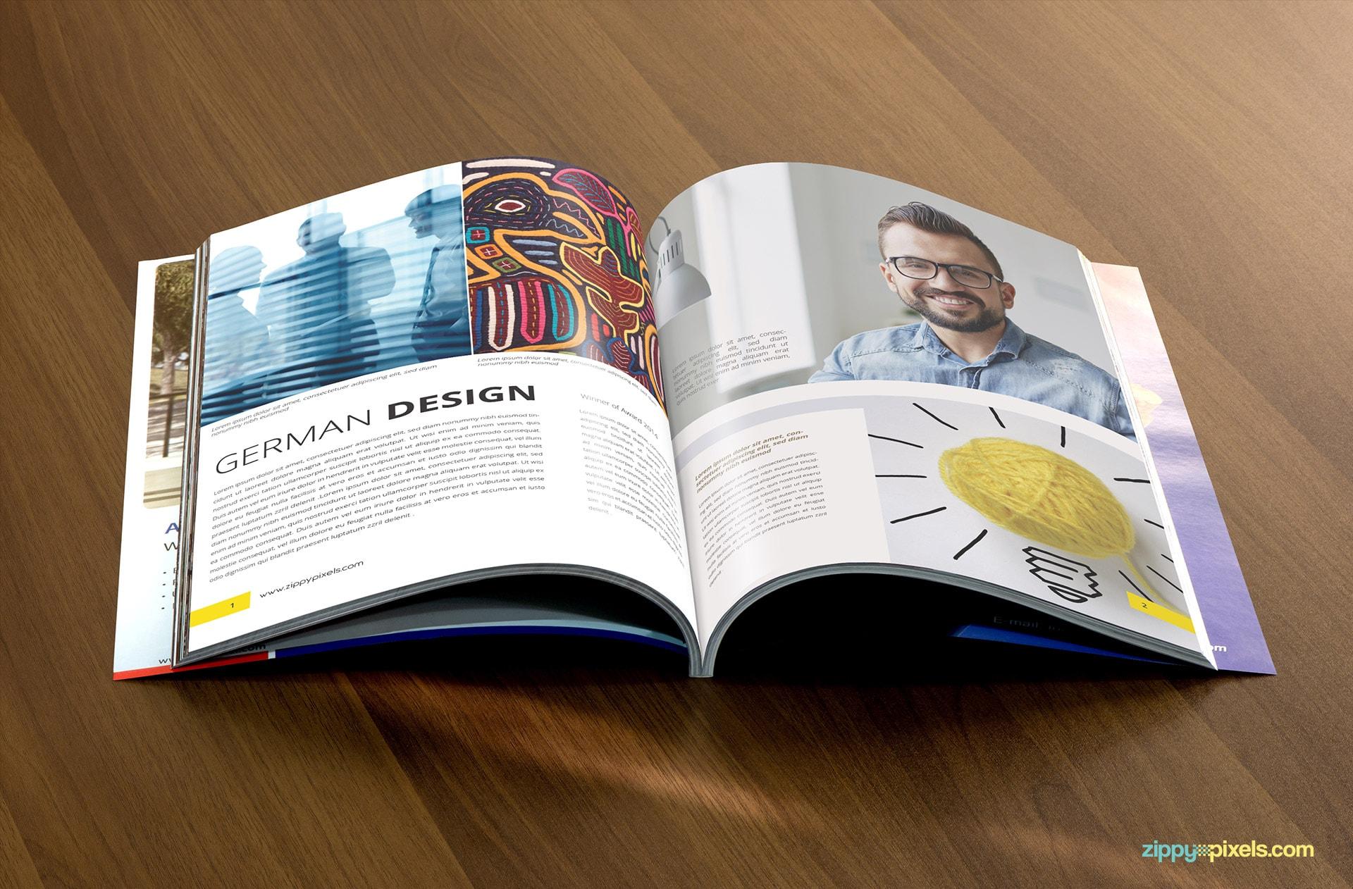 Magazine Mockup showing Opened Magazine on Table