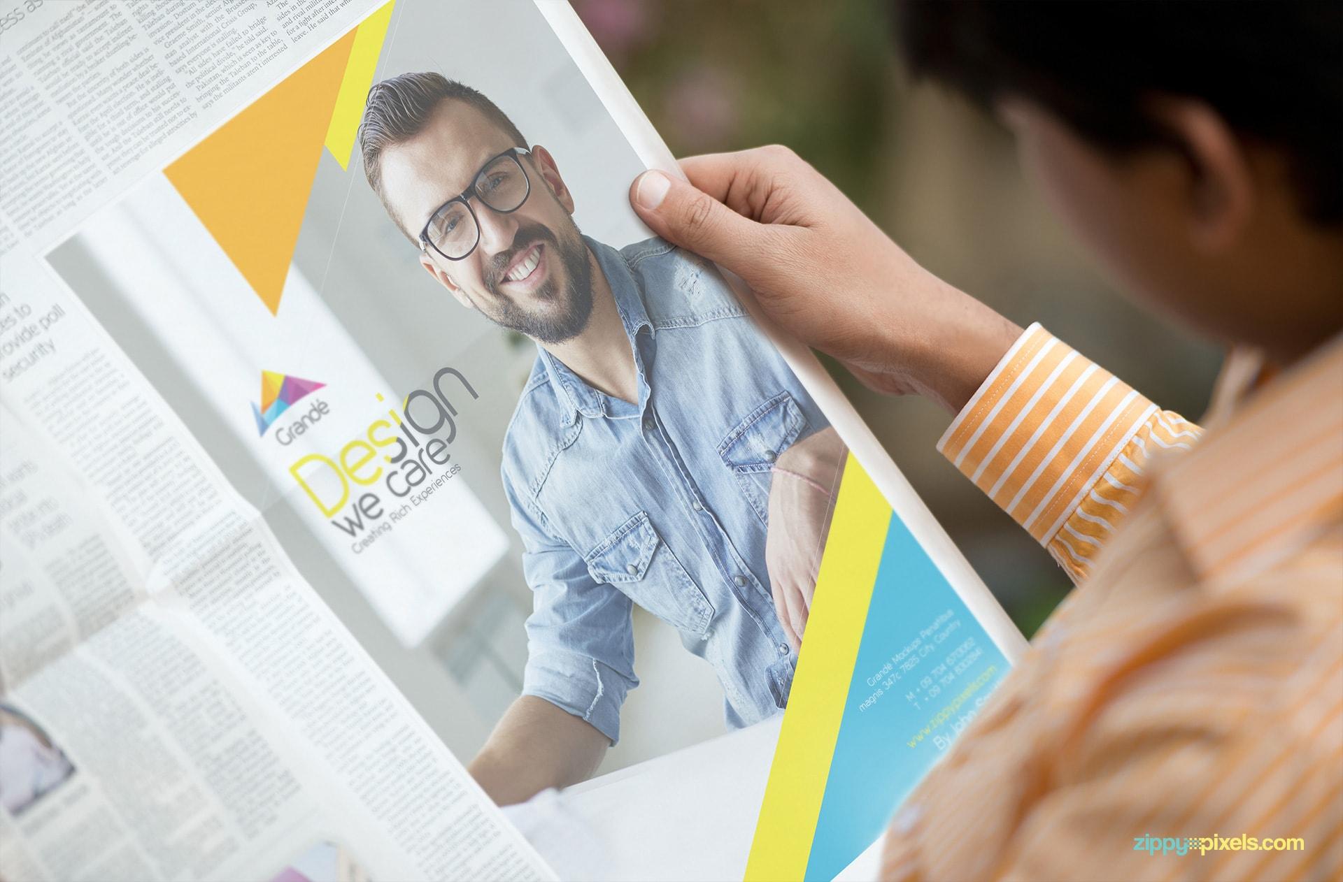 Advertising Mockup of Newspaper Ads Held in Hands