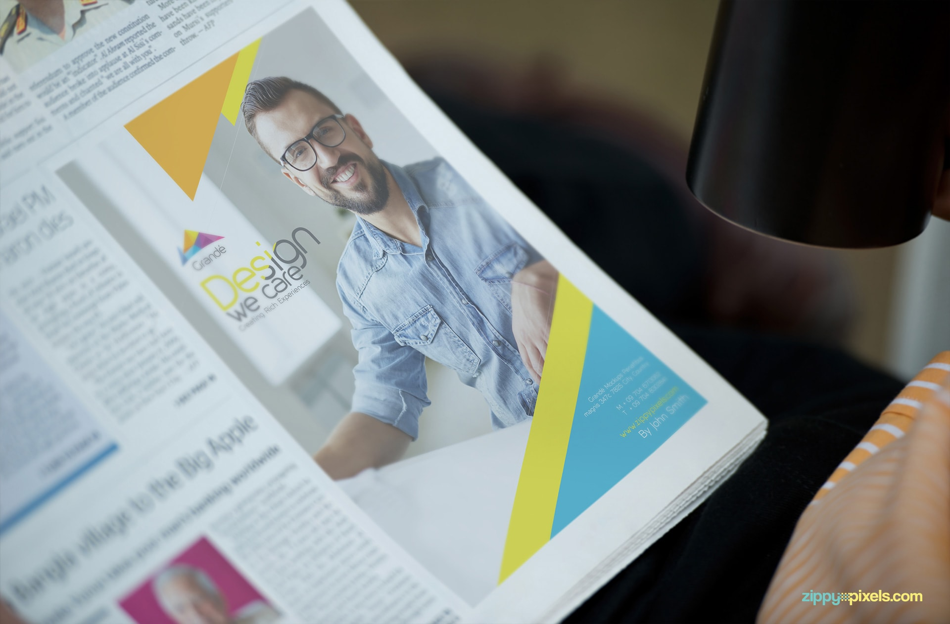 Newspaper Mockup with an Ad Space