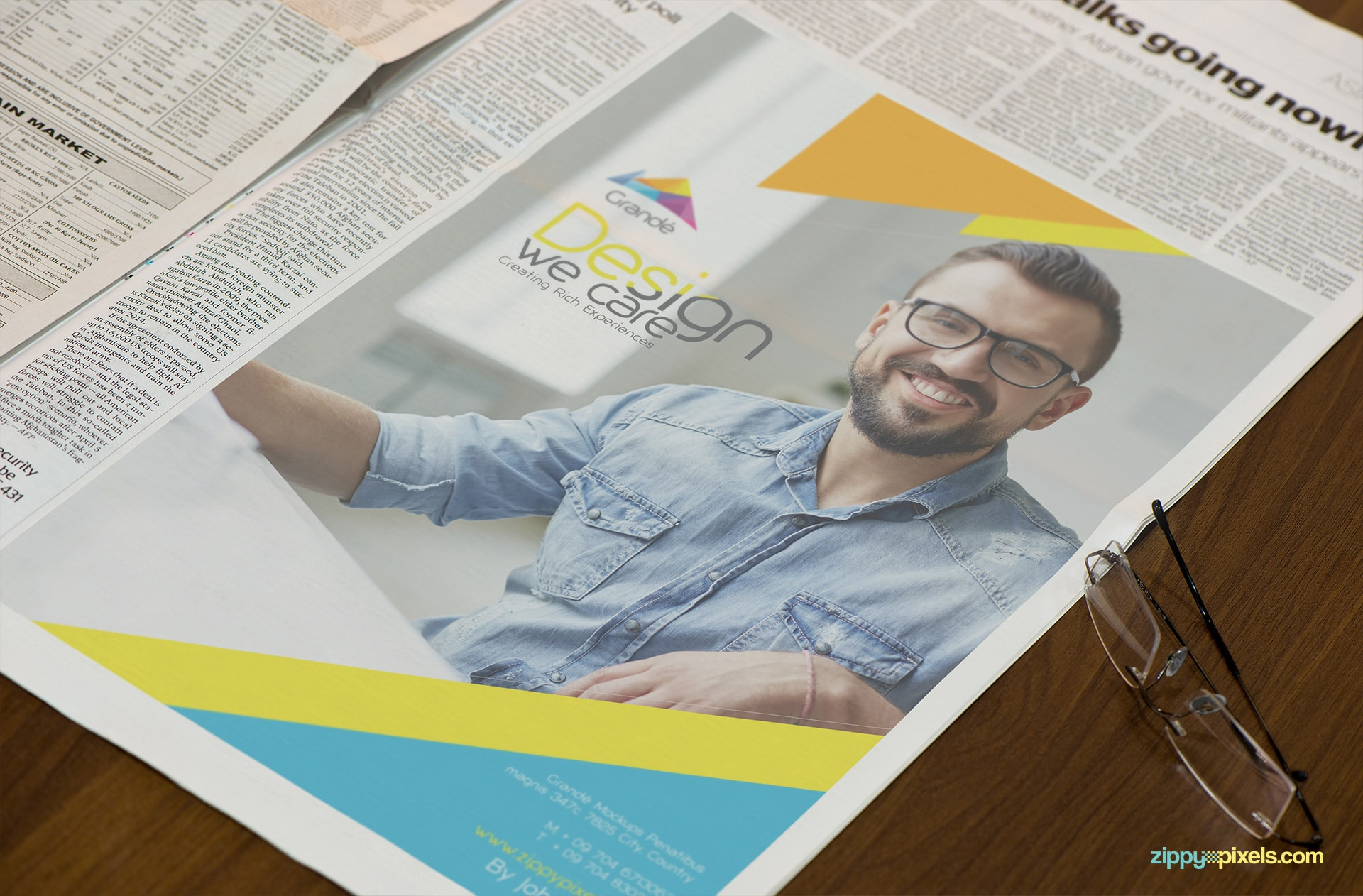 Newspaper Mockup with large Advertising Area
