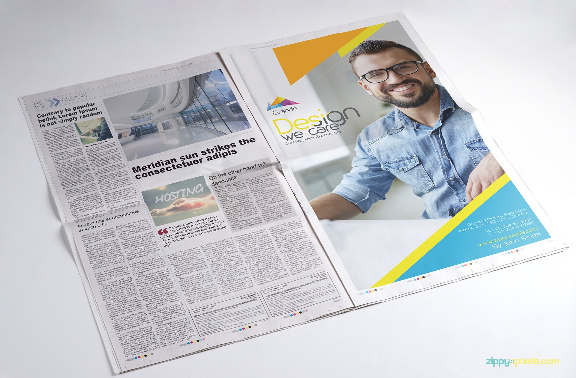 newspaper advertisement PSD mockup with 4 Ads