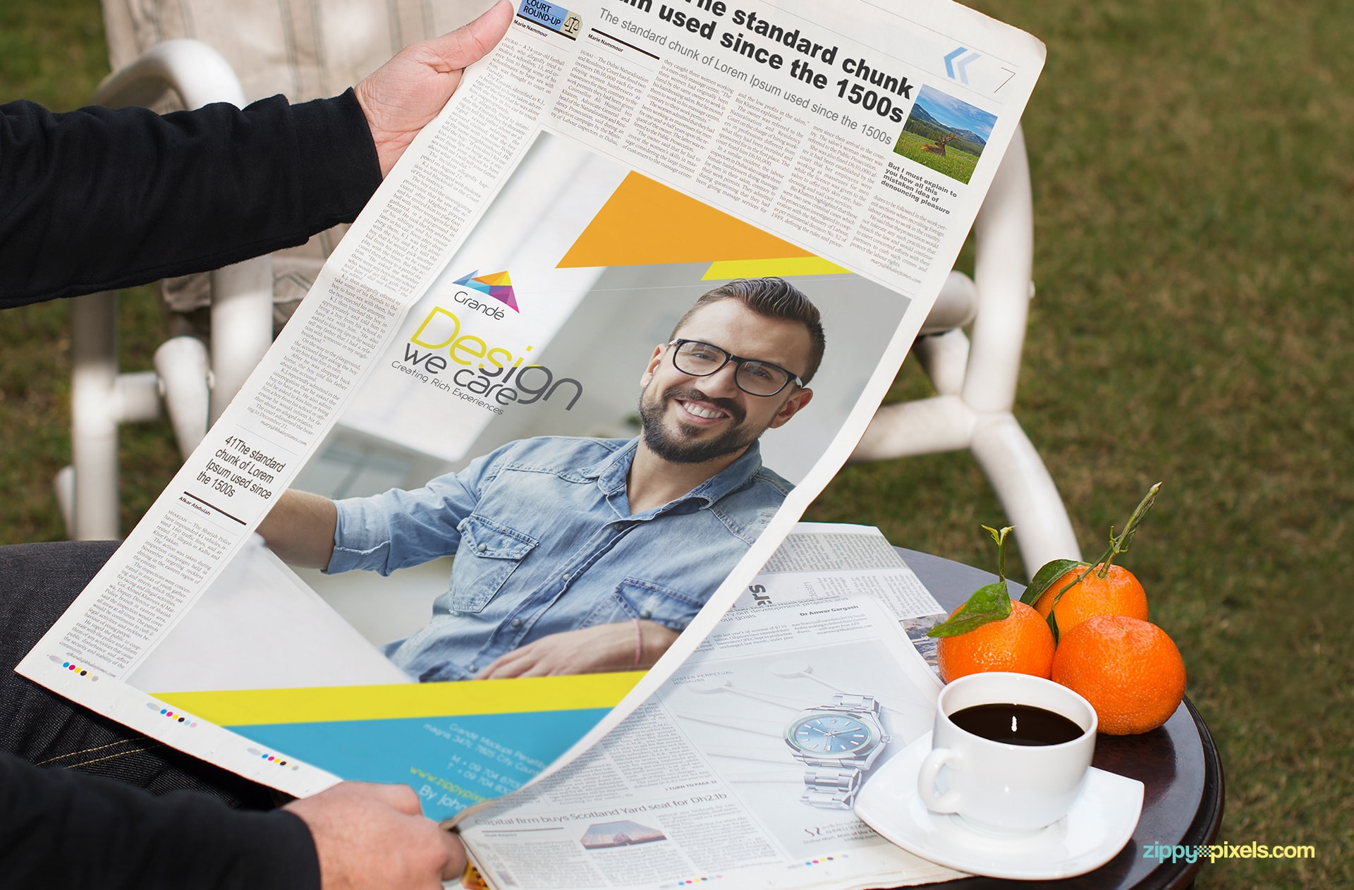 newspaper Ad PSD mockup with oranges, coffee and garden