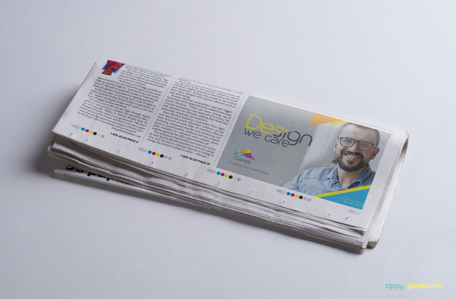 Advertisement PSD mockup of folded newspaper