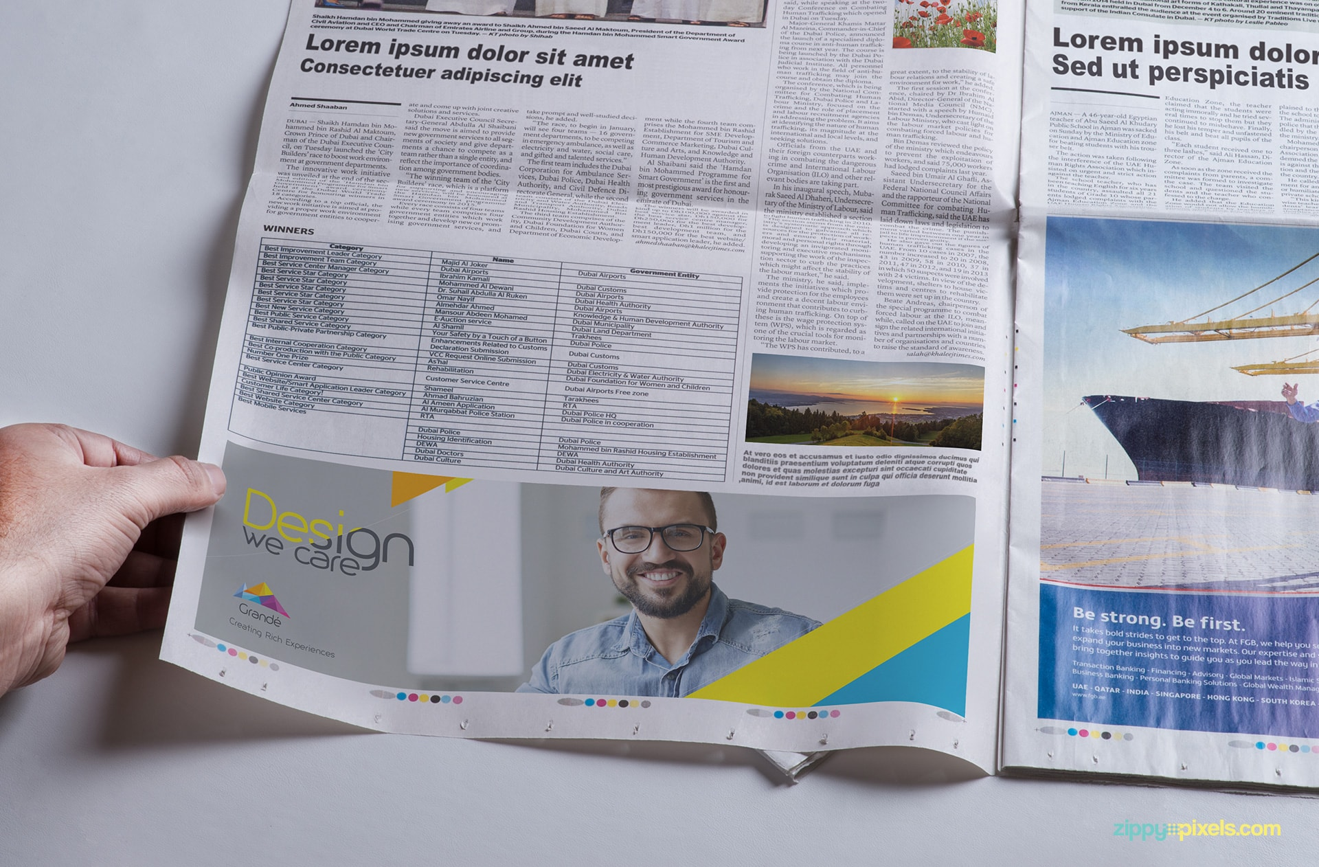 Newspaper Ad PSD mockup with close up shot of newspaper page
