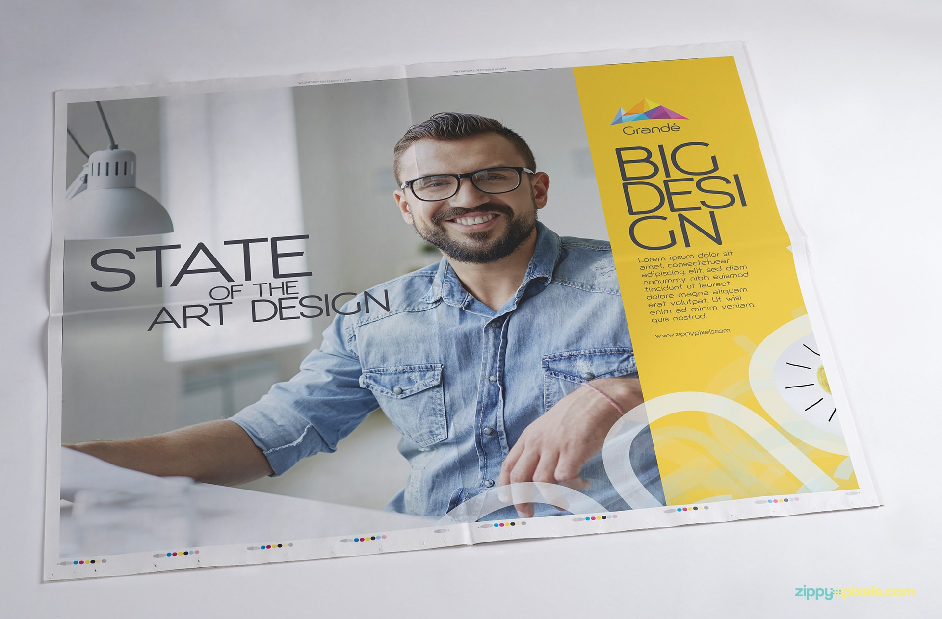 Newspaper branding mockup - Full double page Ad mockup