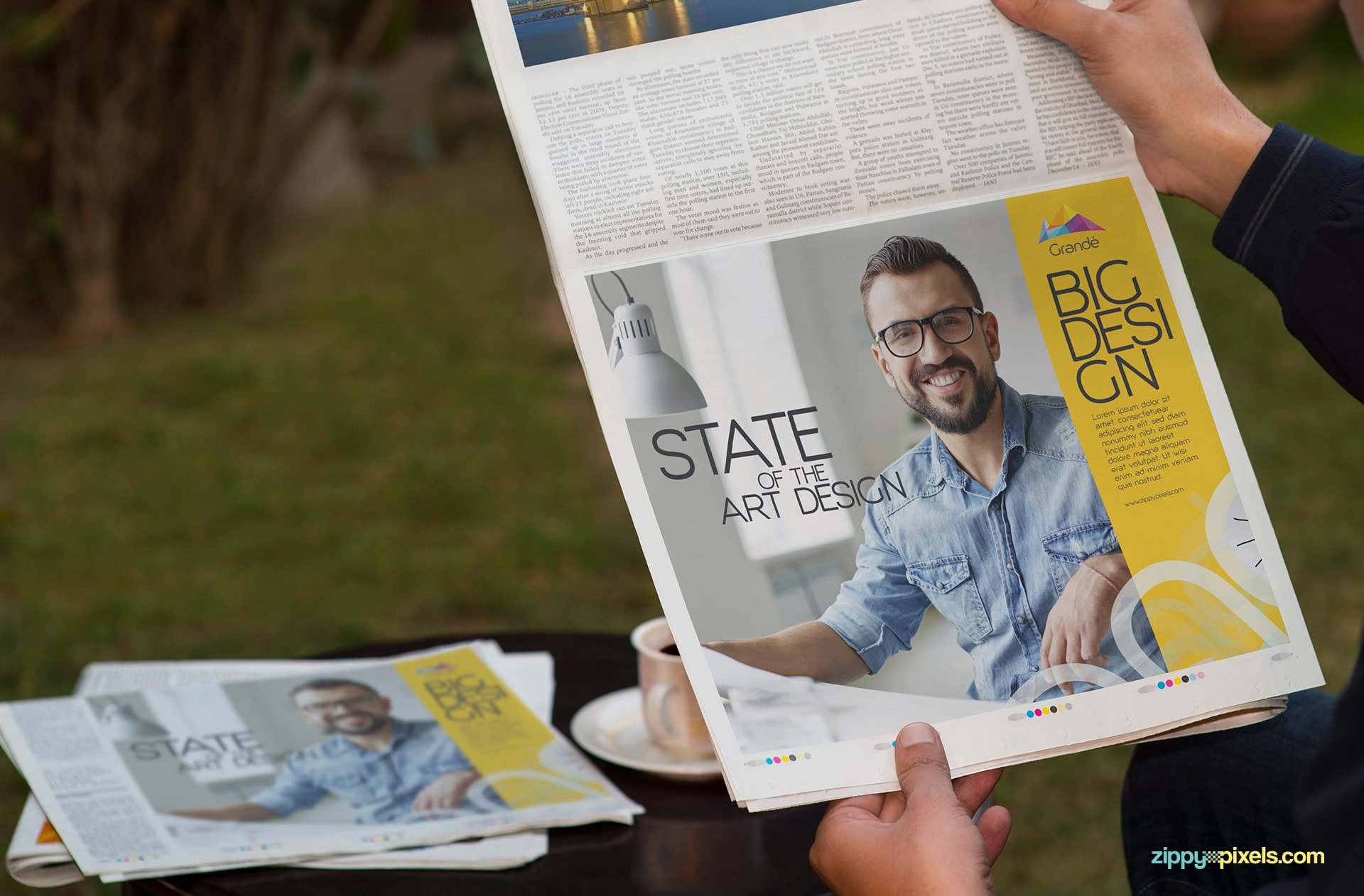 Newspaper mockup for horizontal half page Ad