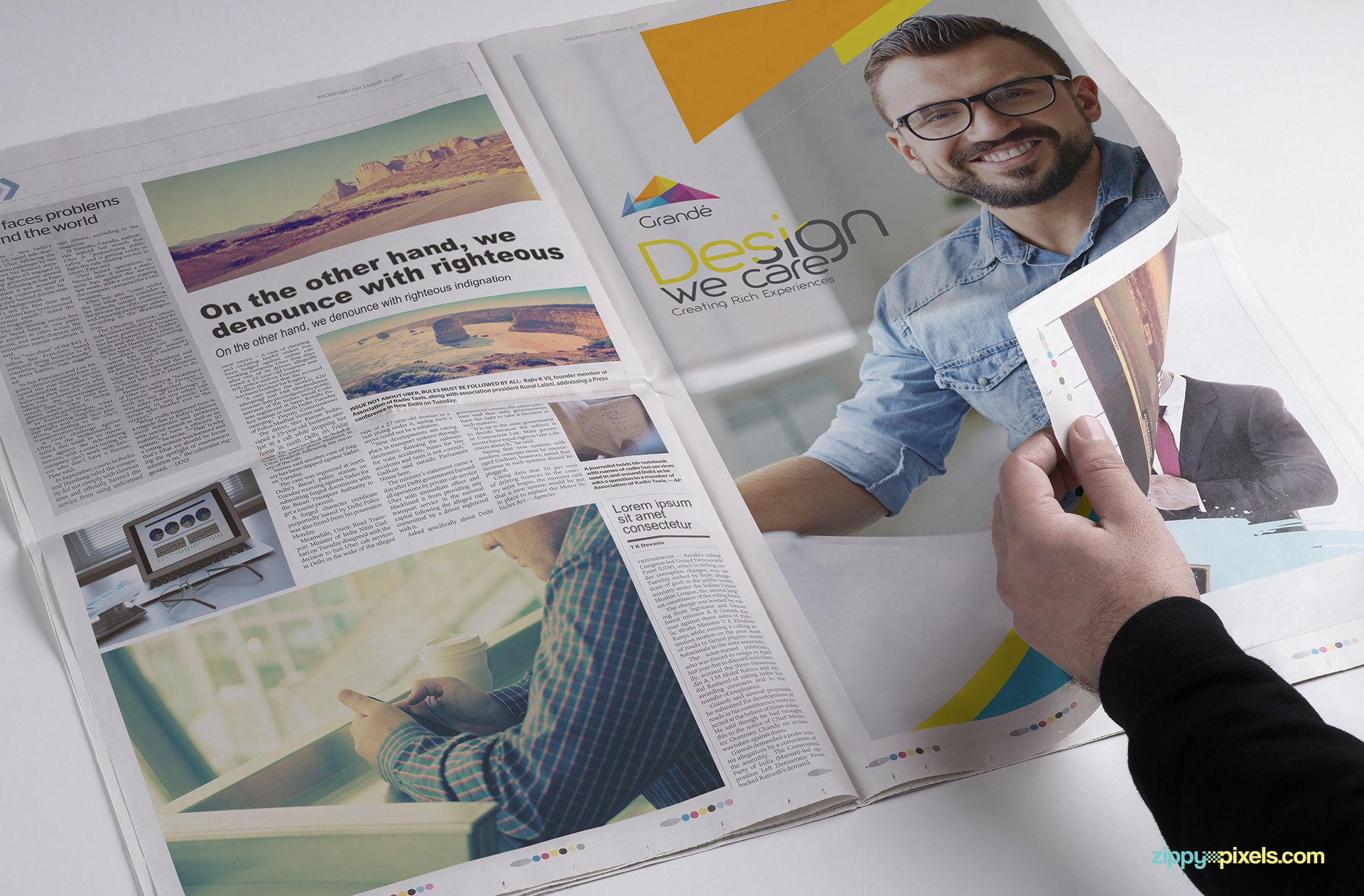 Advertisement PSD mockup with full page Ad