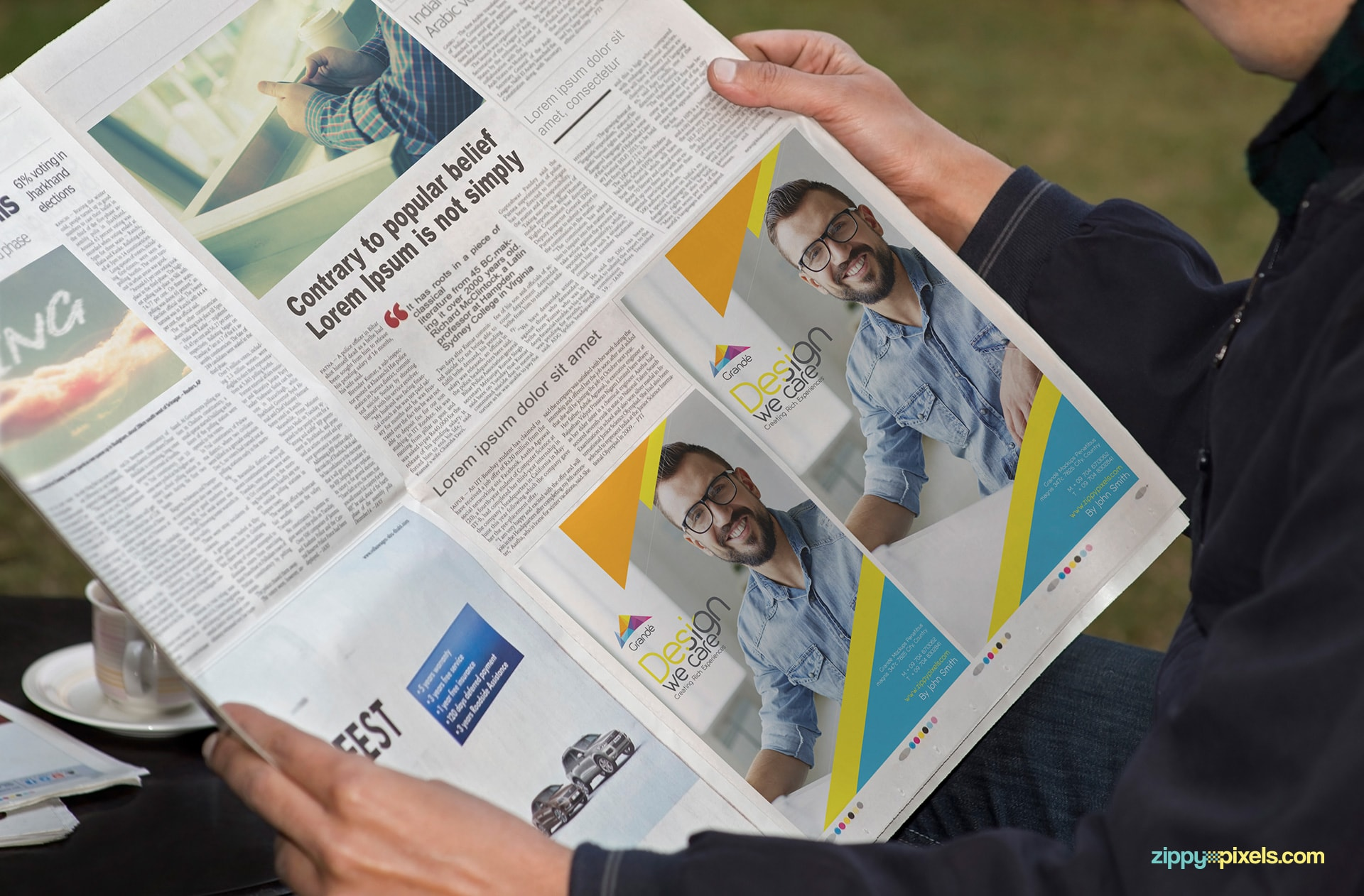 Newspaper mockup for horizontal half page Ad