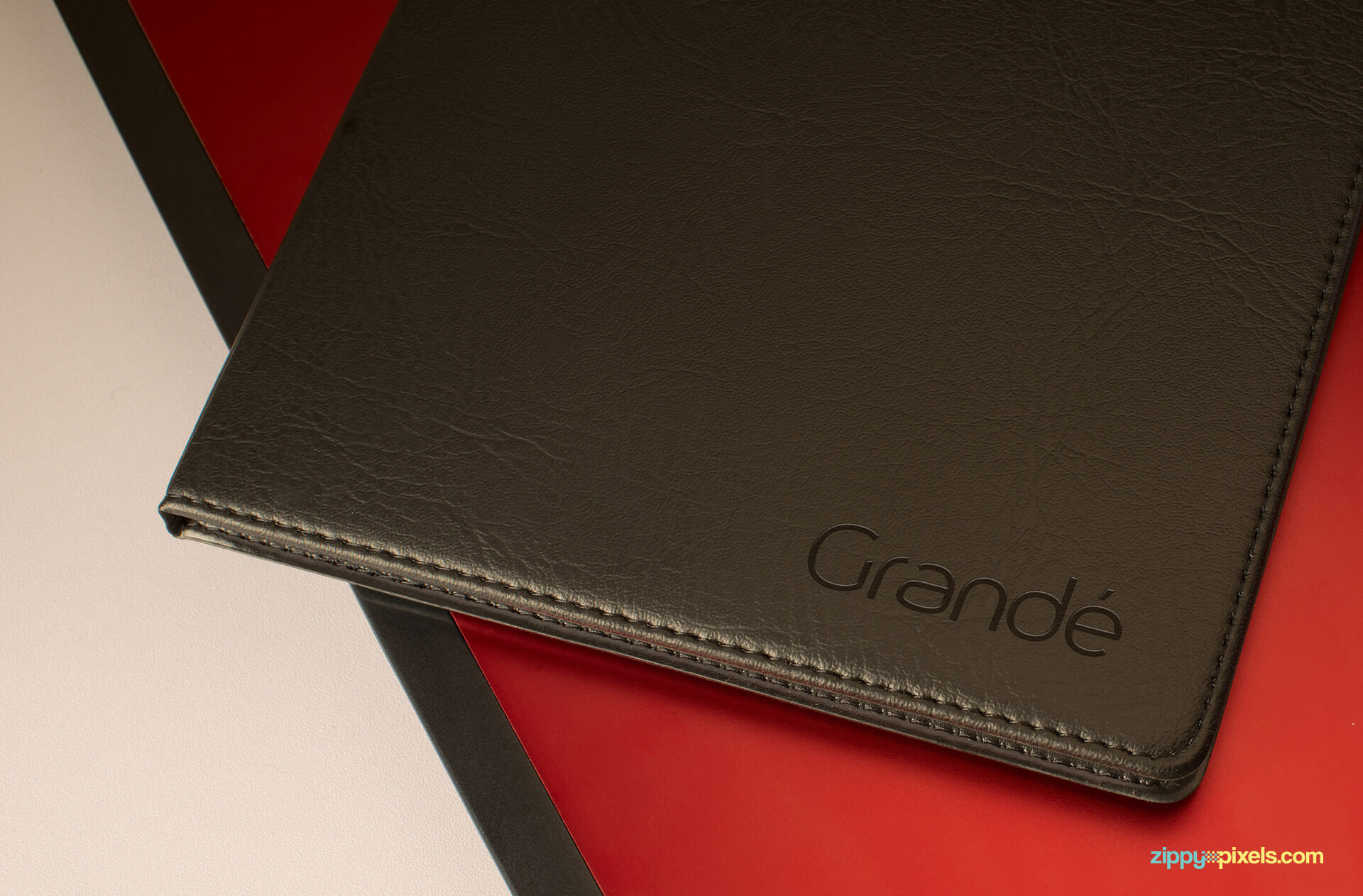 Brand Identity Mockup of a Branded Leather Diary