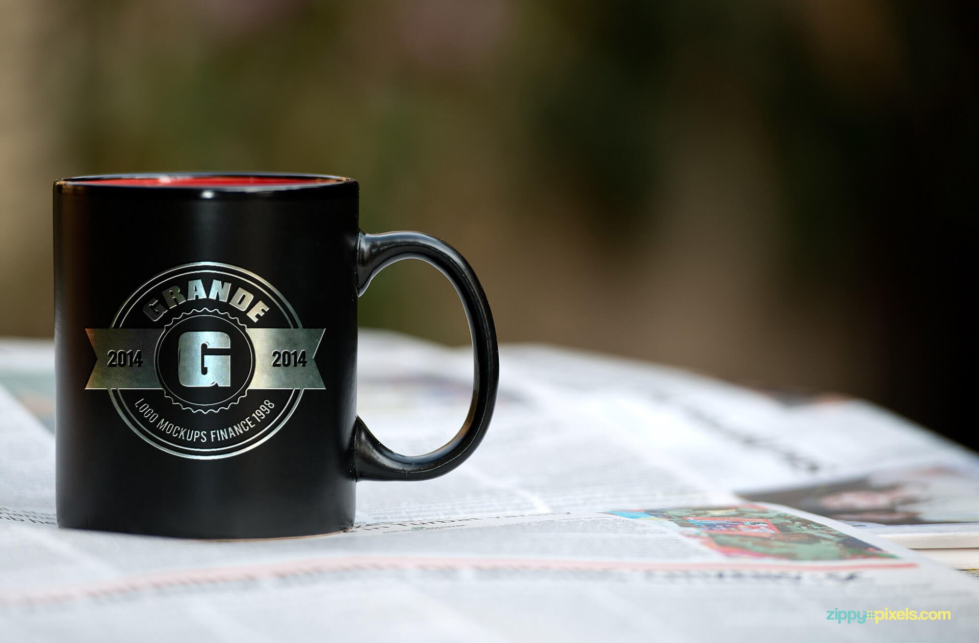 Brand Identity Mockup of a Black Mug