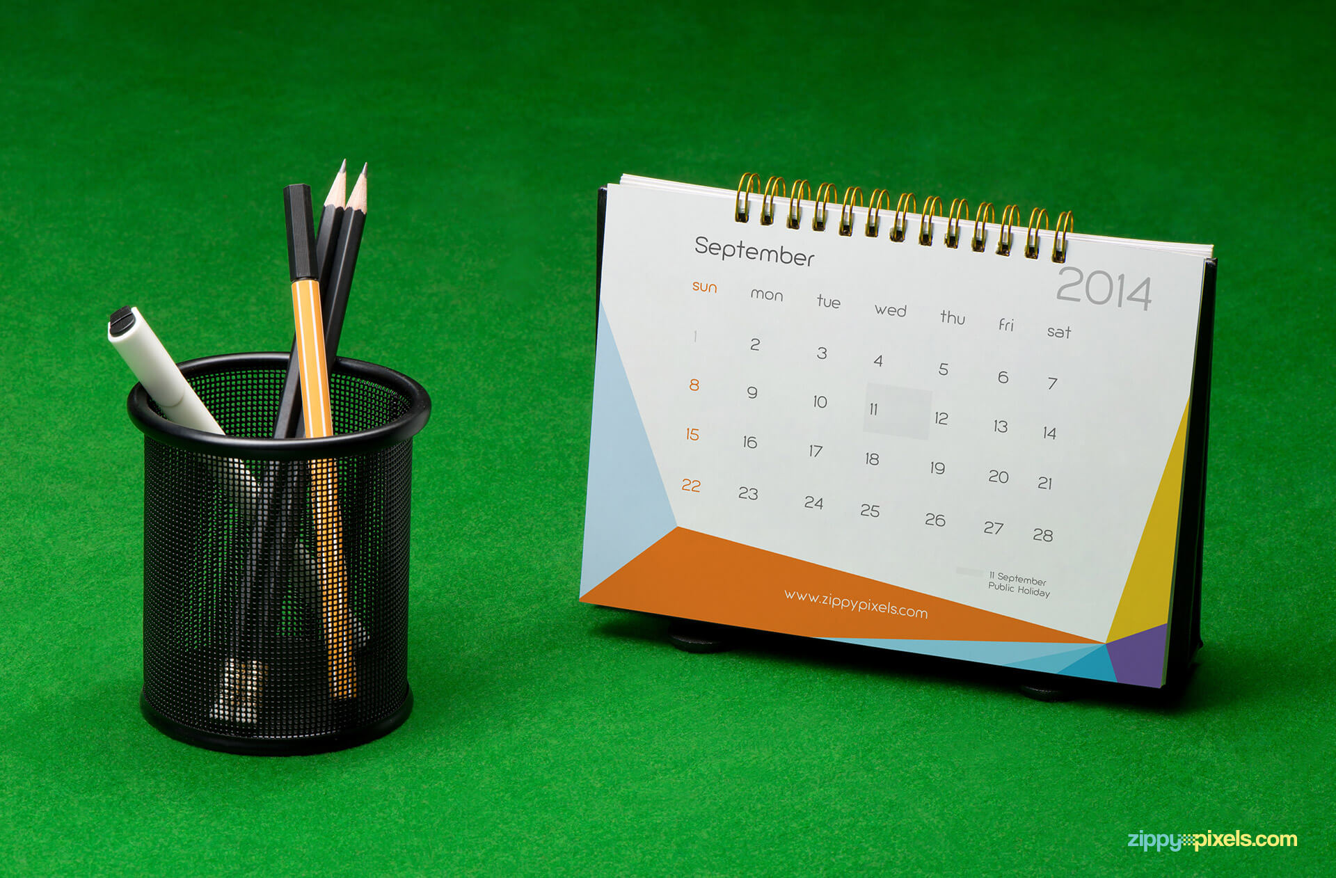 Brand Identity Mockup of Table Calendar with Pen holder