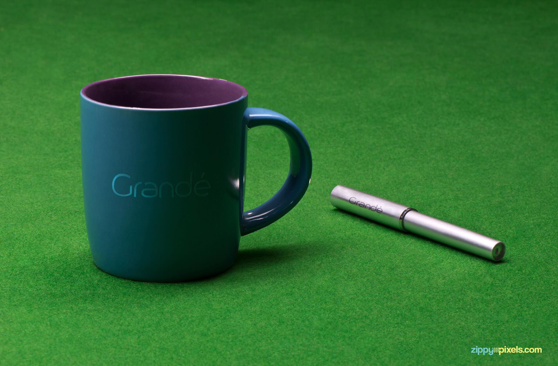 Corporate Branding Mockup of a Blue Mug with a Pen on Pool Table