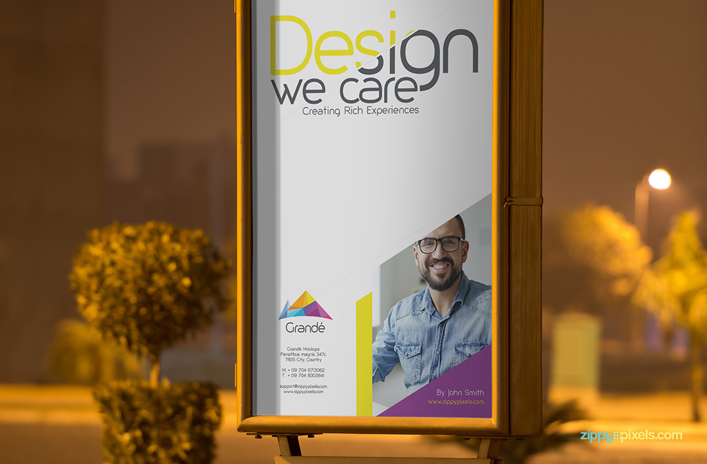 Free Poster Mockup of a roadside poster